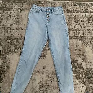 High waisted denim bleached button up jeans